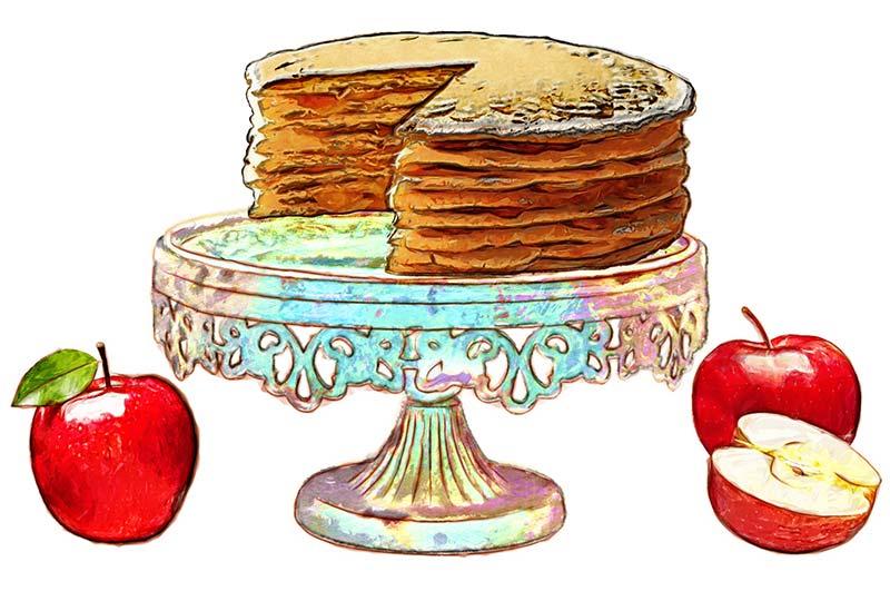 12. Food Illustration: Apple Stack Cake