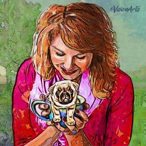 Smiling Woman Holding Pug illustration