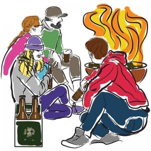 Beer around a Bonfire illustration