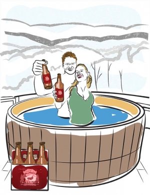 Beer in a Hot Tub illustration