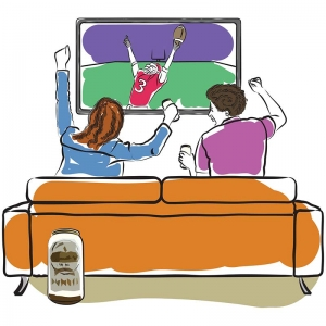 Watching the Super Bowl illustration