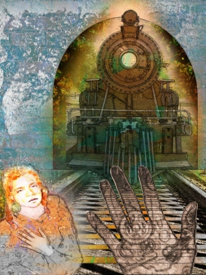 Red Haired Girl and Train illustration